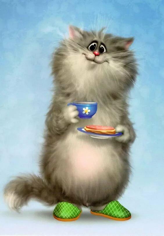 Прикольные картинки с котиками с добрым утром