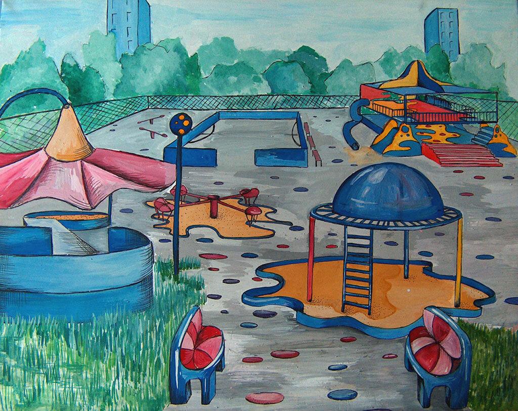 Картинка карандашом детская площадка