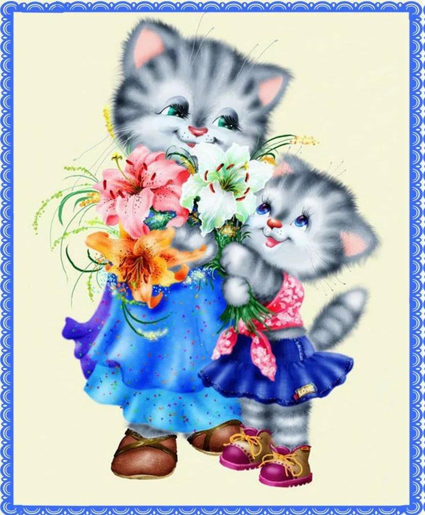 Детские сказки, открытки мама с котятами