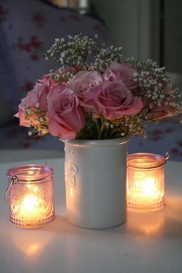Открытка, добрый вечер цветы гифы