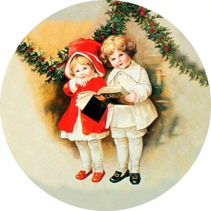 Винтажный новый год открытка