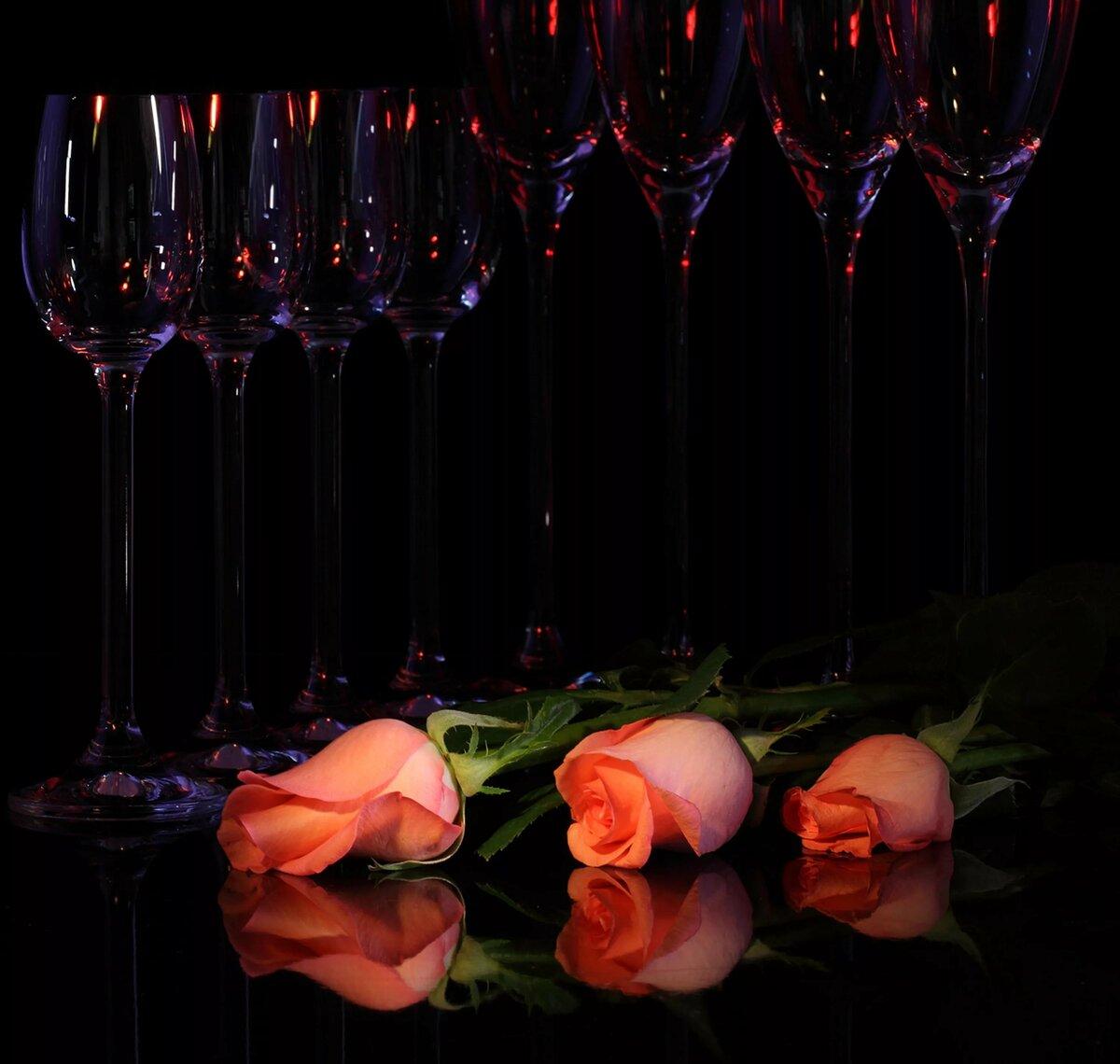 Картинки вино бокалы цветы