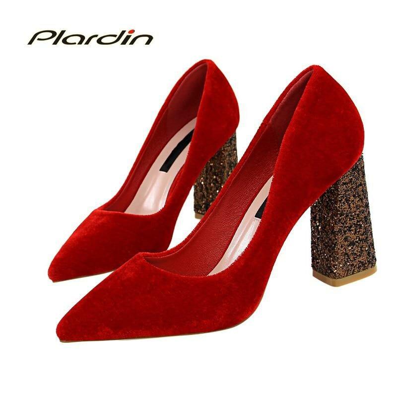 043214e44 ... Plardin/Новая Всесезонная Обувь женские лаконичные модные женские туфли  из замши обувь для вечеринки и