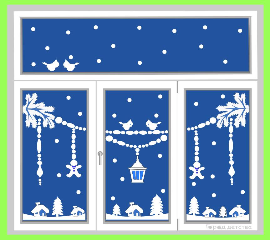 зимние картинки для окна своими руками