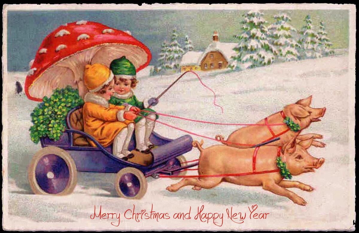Гифы поздравлением, открытки с новым годом ретро 2019