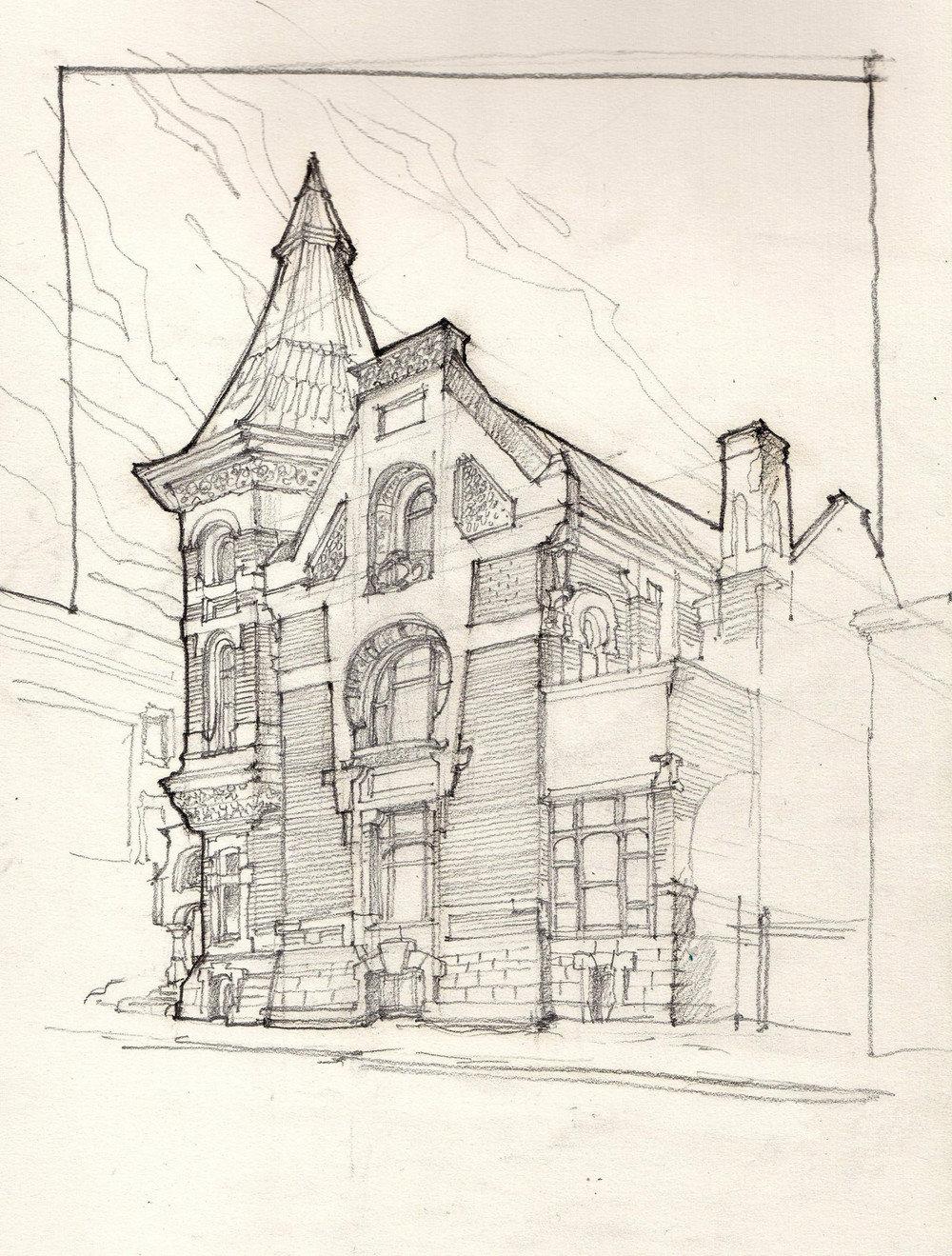 рисунок здания в стиле модерн давайте