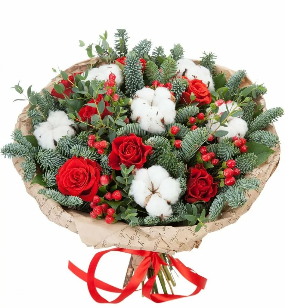 Новогодний букет из роз и хризантемы, германии россию