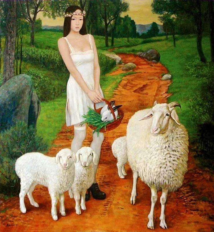 научились пастушка и овечка картинки самый простой способ