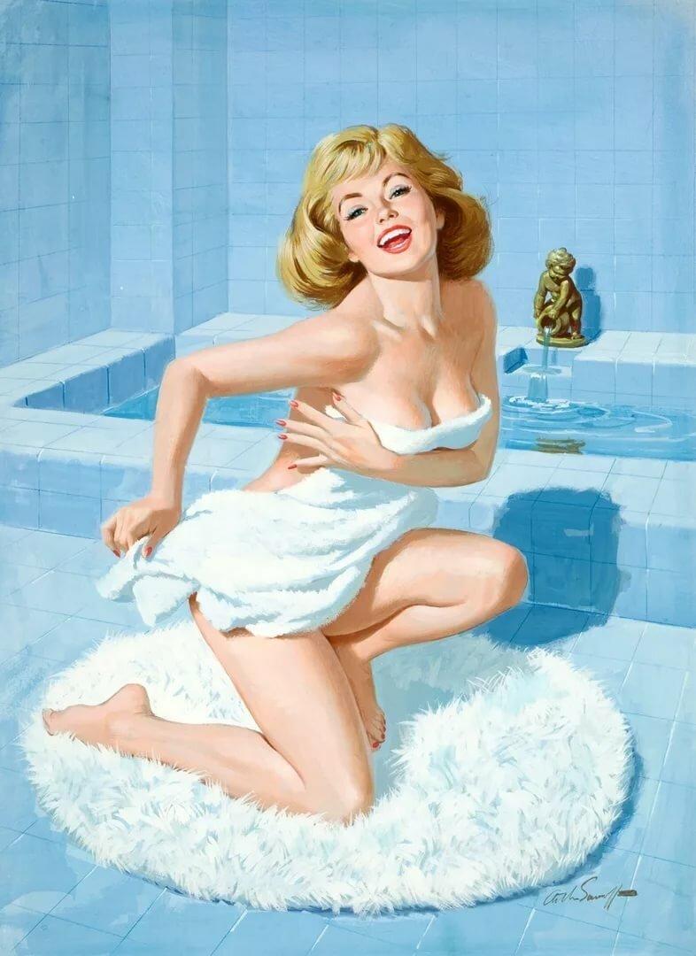 Открытки в ванной с девушкой, цветы картинки