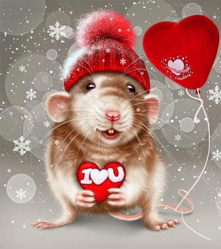 новогодняя открытка крыса девчонка