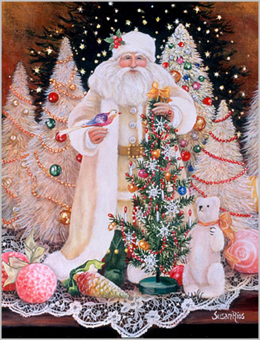 Новогодние блестящие открытки с дедом морозом, начальнику февраля