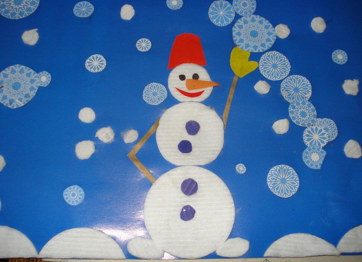 Открытка из ватных дисков своими руками снеговик