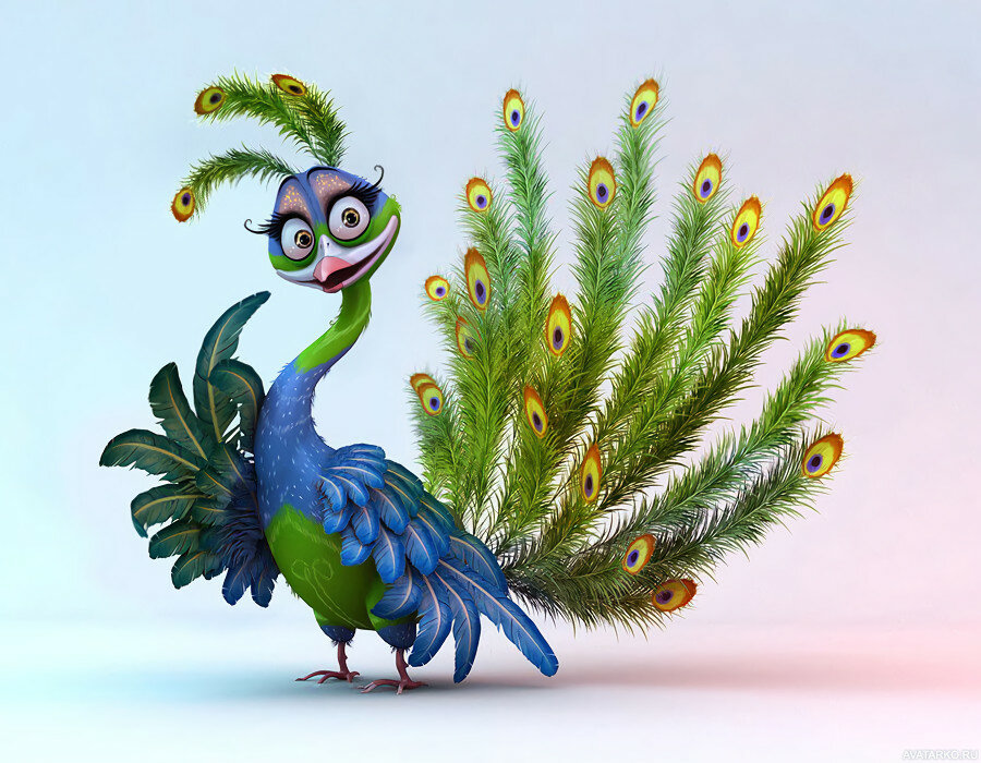 Смешная птица рисунок