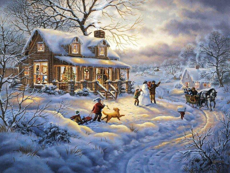 Зимние картинки для открыток