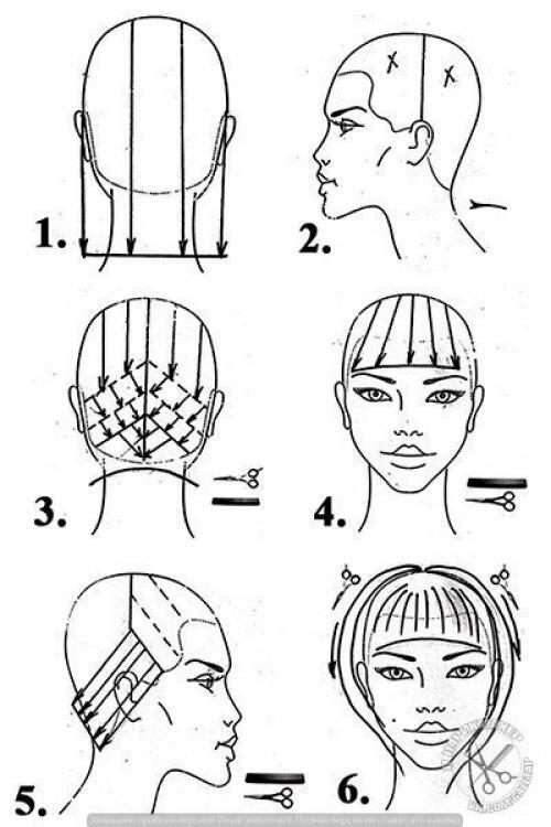 Схемы выполнения женских стрижек в картинках