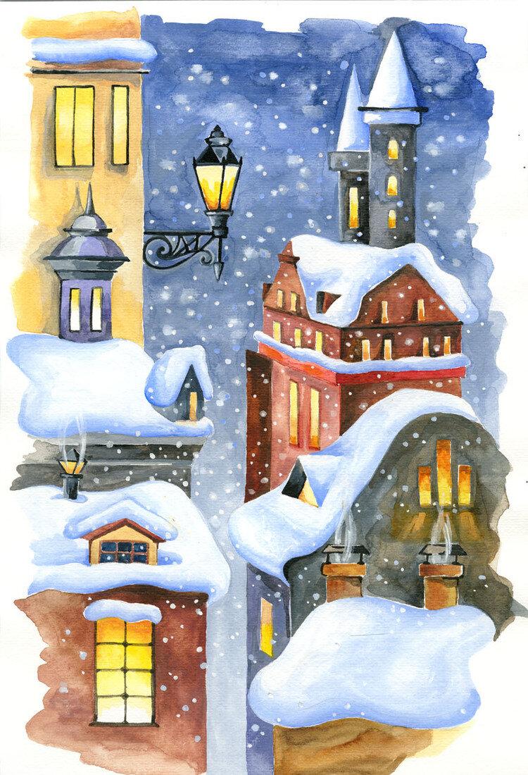 вечерний зимний город картинки нарисовать загородных