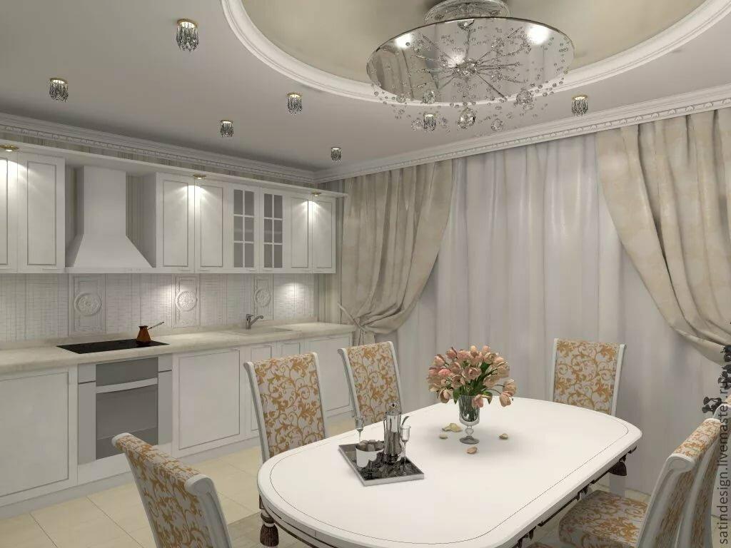 Красивое оформление потолков для кухни фото