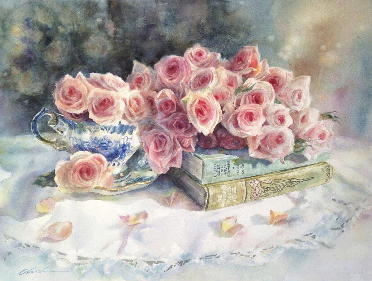 Юбилеем, книги и цветы открытки