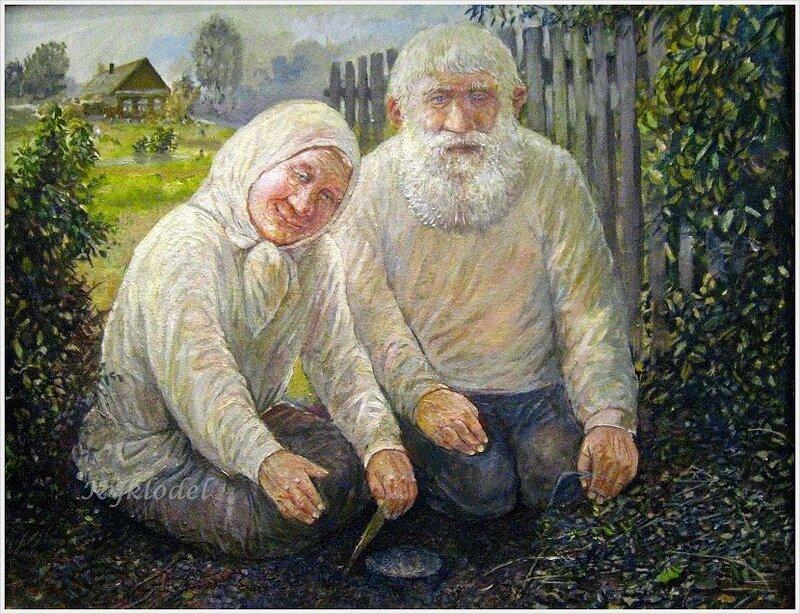 Картинка дед и бабка в деревне