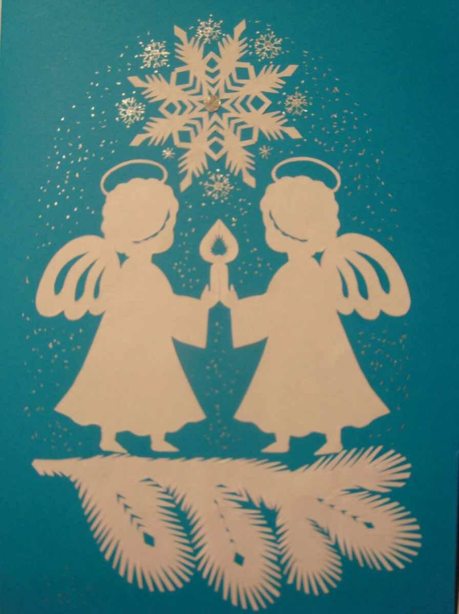 Рождественские открытки из бумаги своими руками, надписью добрый вечер