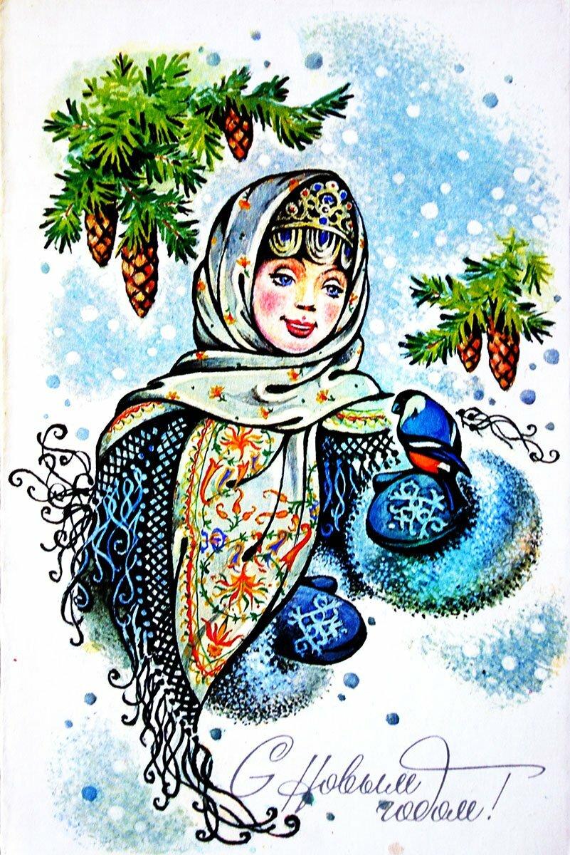 Новогодняя снегурочка на открытках