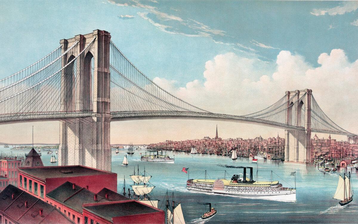 Открытка на мосту, открытка поздравление