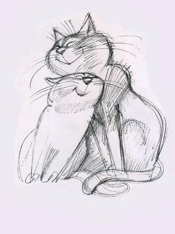 Картинки, прикольные коты и кошки рисунки карандашом
