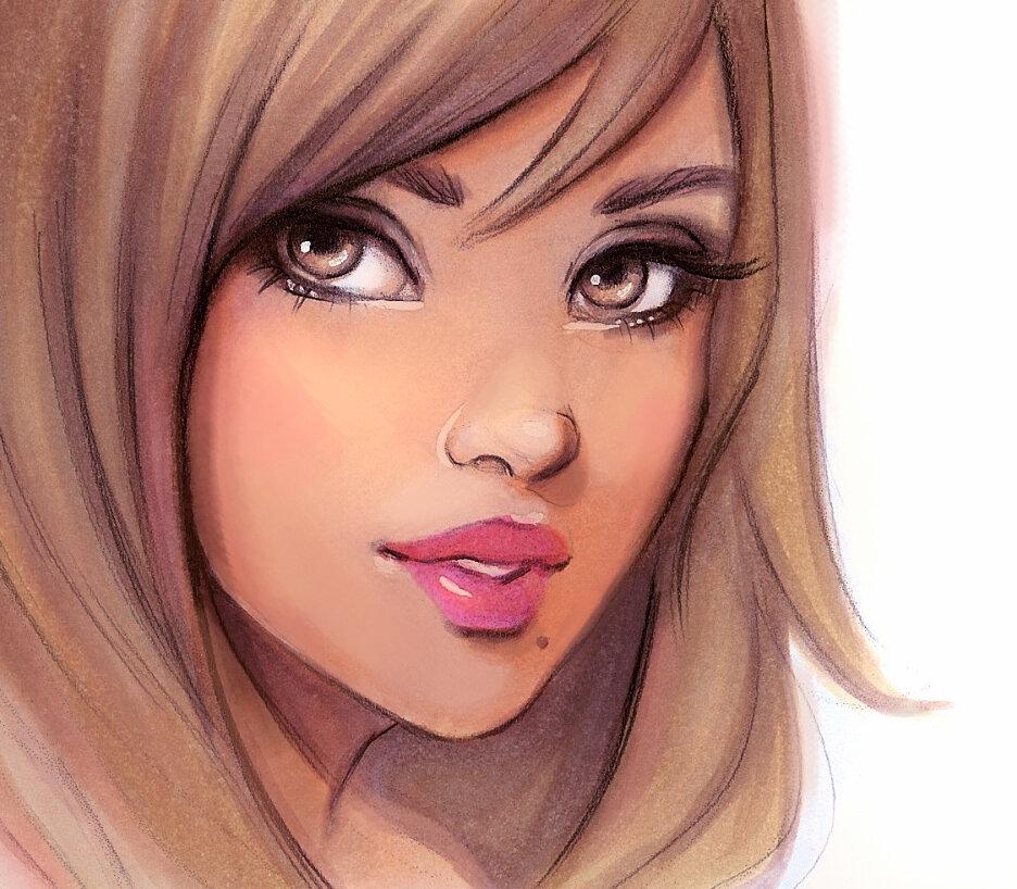 Картинки лица девушки мультяшные