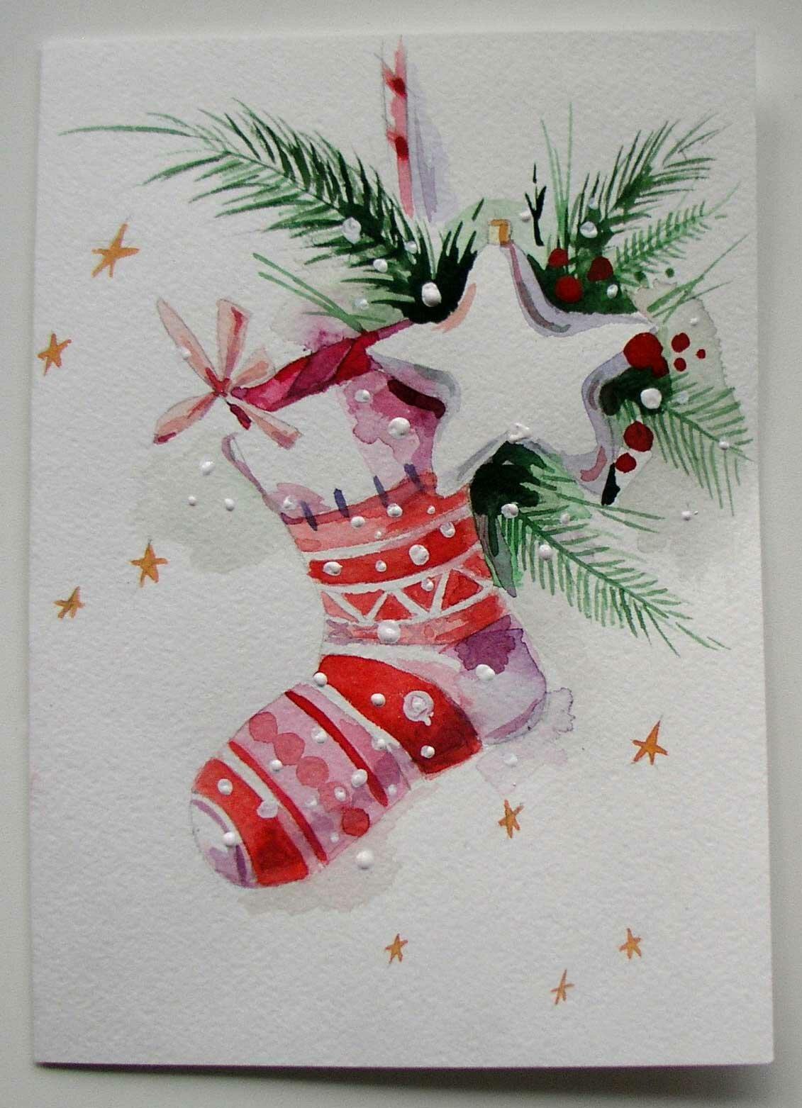 Прости, открытка на новый год акварель