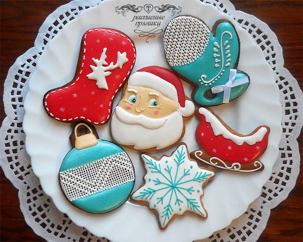 Сахарные картинки на пряники новогодние