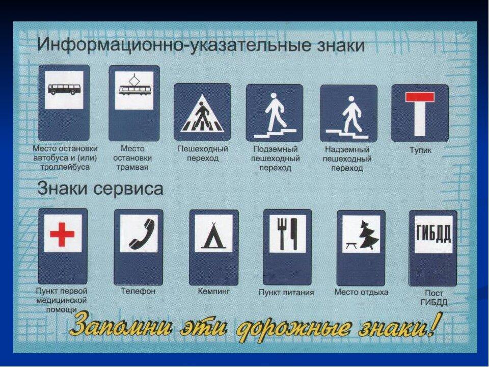 Картинки дорожные знаки информационные