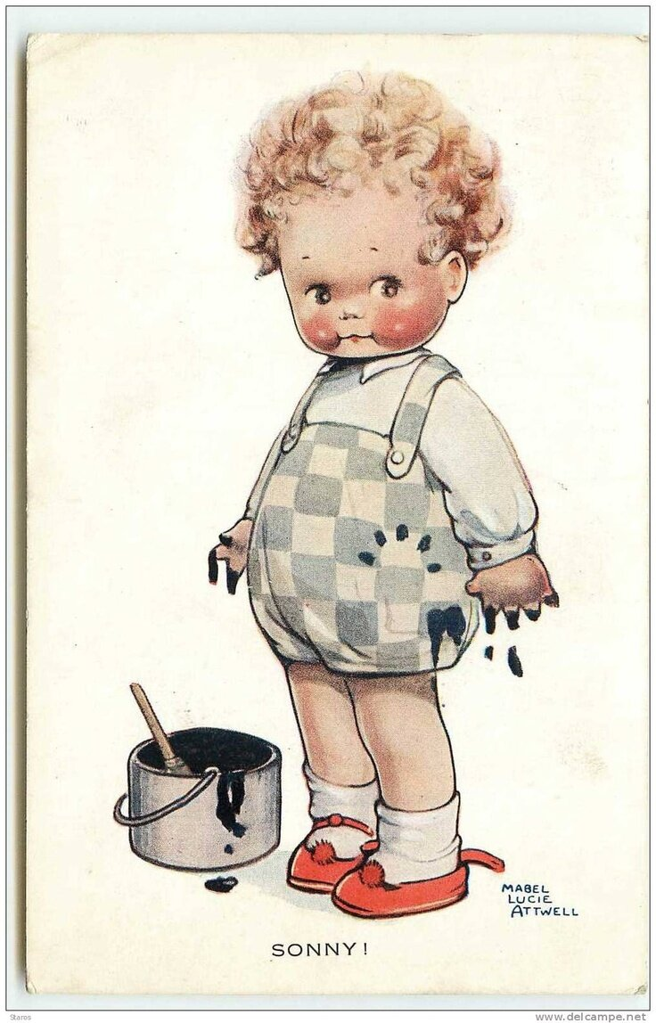 День, ретро открытки малыш