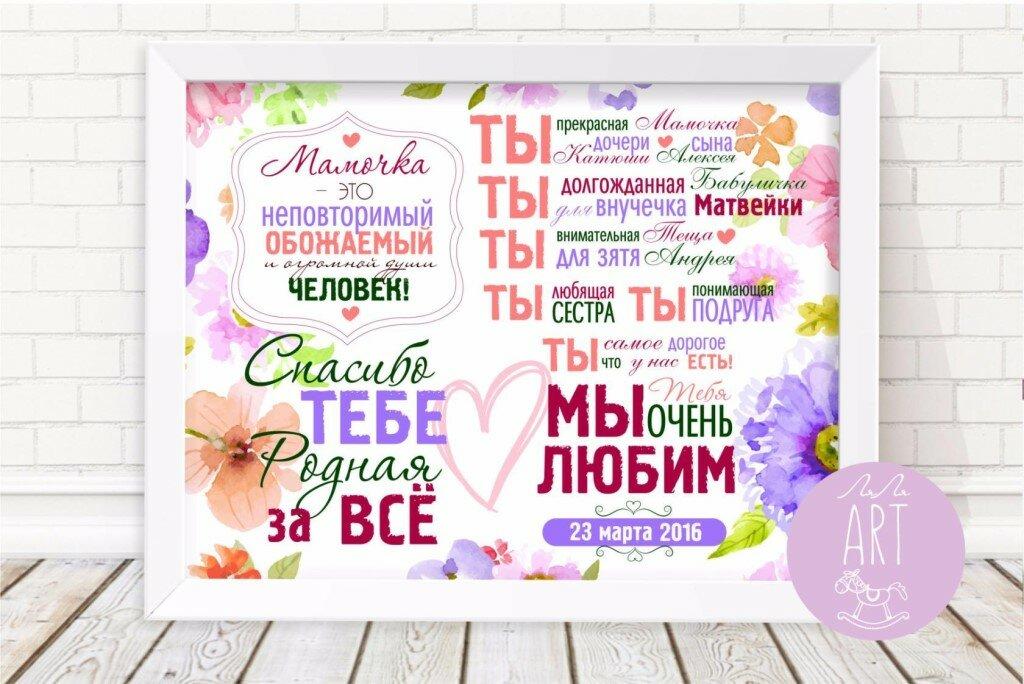 Постер открытка для бабушки, днем рождения дочка