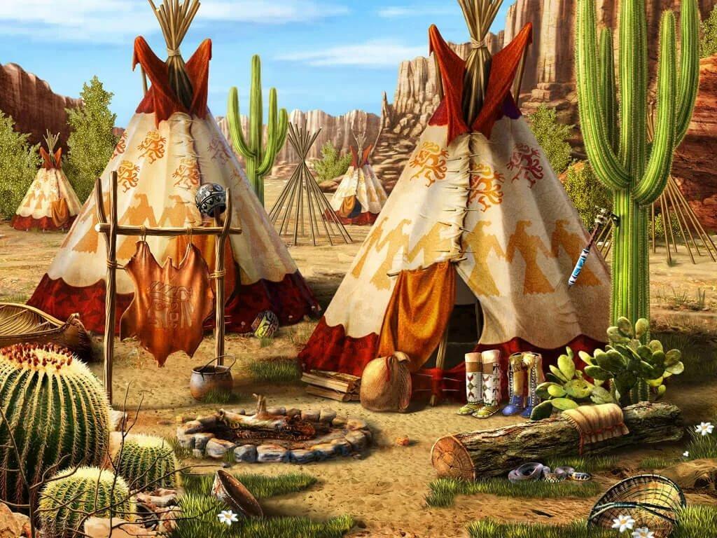 Деревня индейцев в картинках