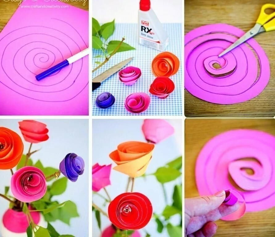 Как сделать розу из бумаги своими руками для открытки