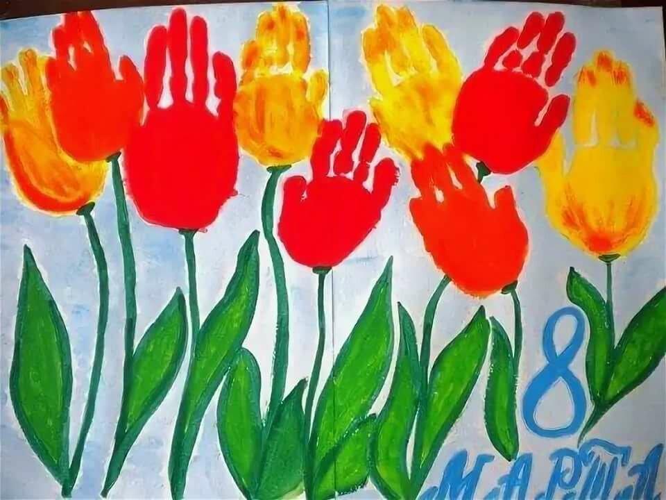 Зайчик цветами, рисование картинки маме к празднику 8 марта старшая группа