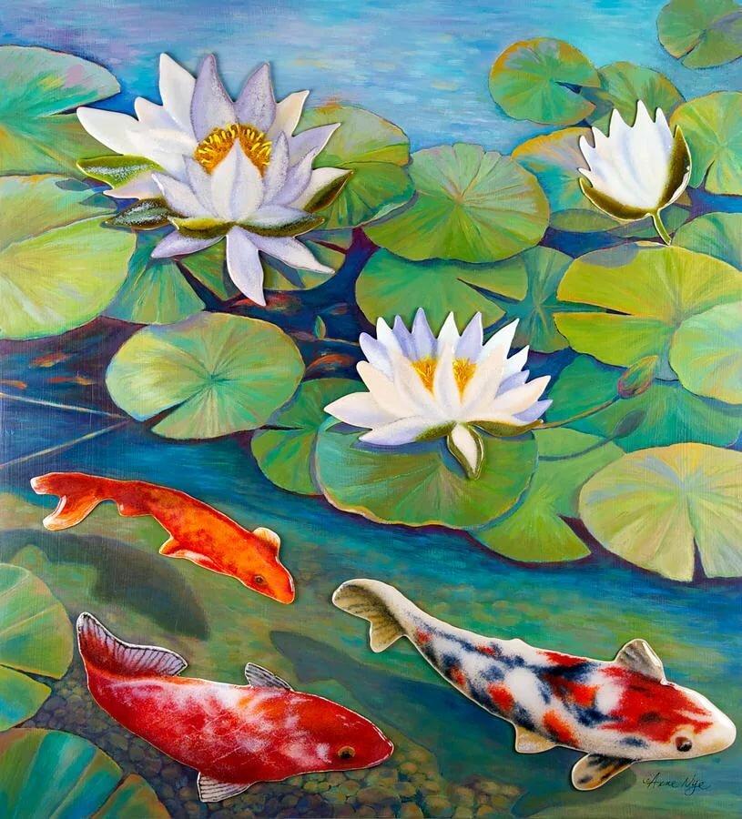 рисунки лотосы на озере
