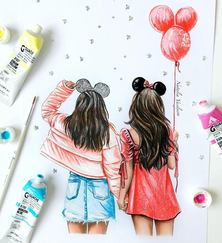 Рисуем открытку для подруги, рисунки карандашом для