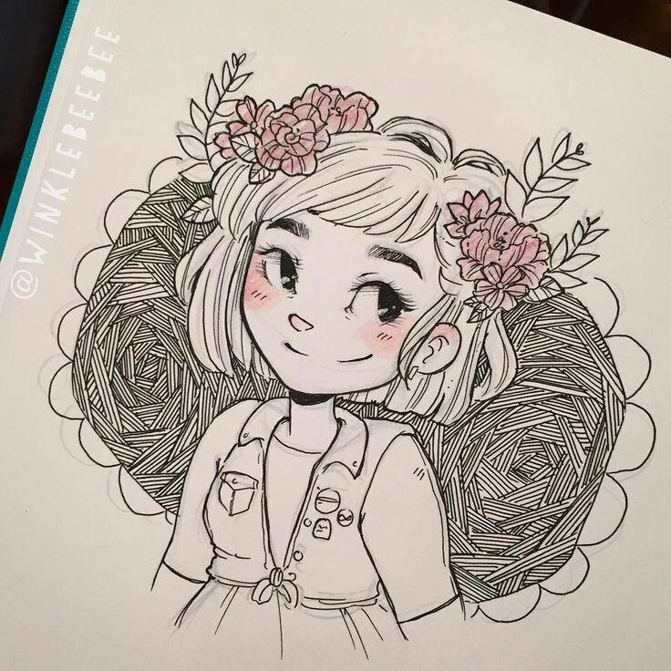 Прикольные картинки для срисовки в скетчбук легкие для девочек аниме, открытку день матери