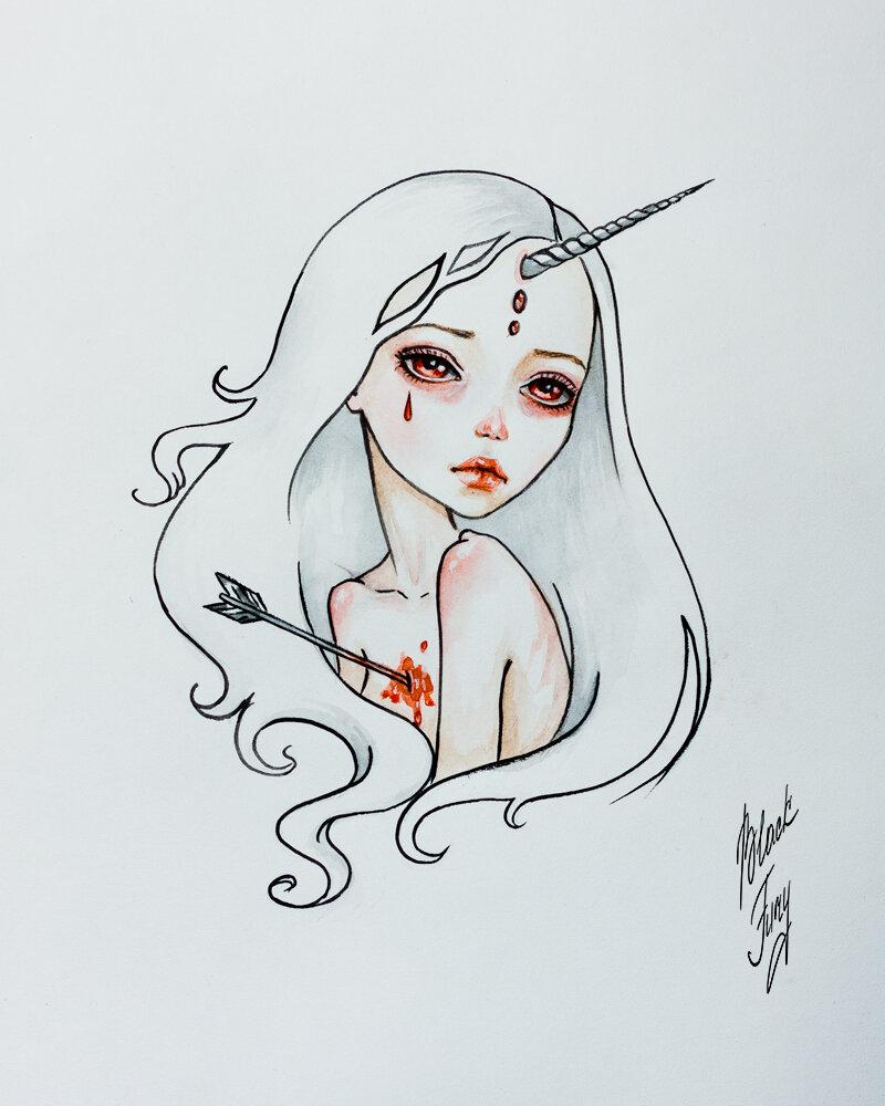 Красивые арт рисунки для срисовки, красная