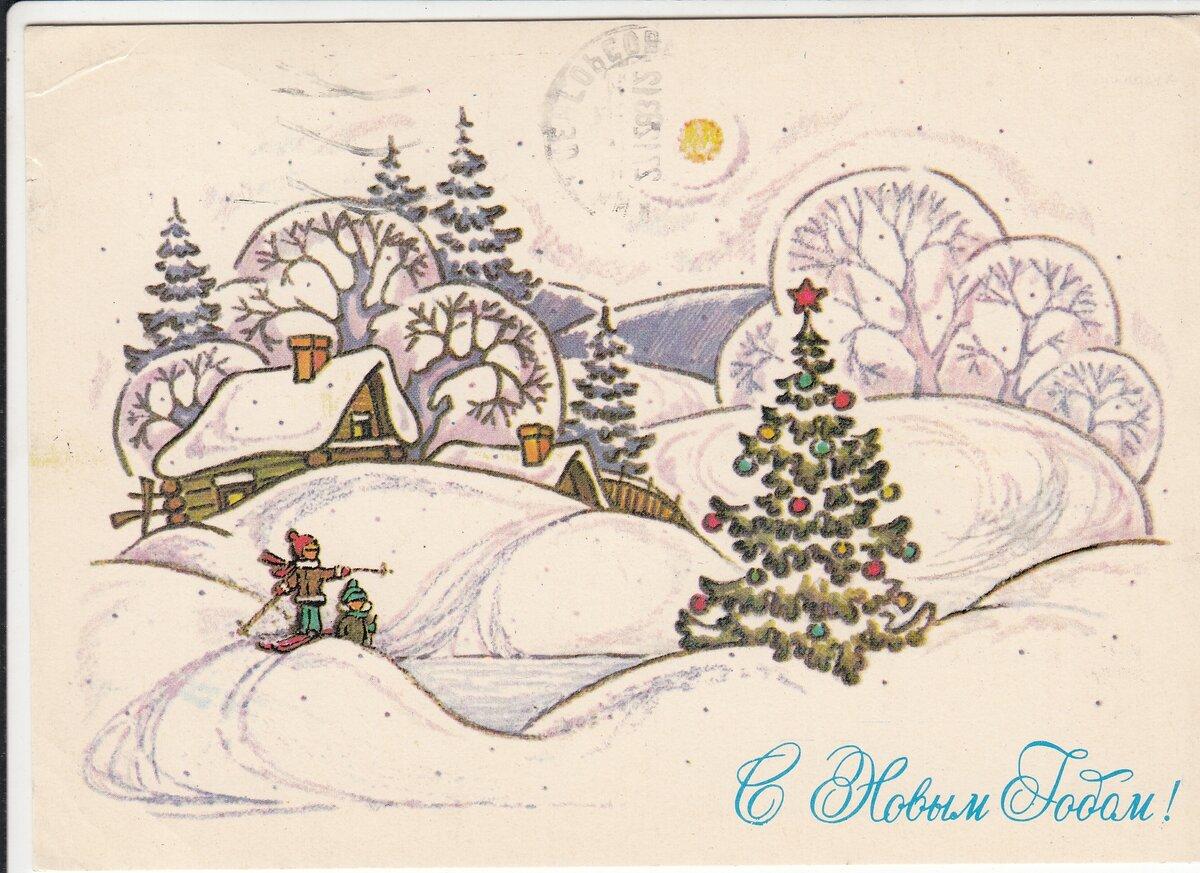 Как рисовать новогоднюю открытку