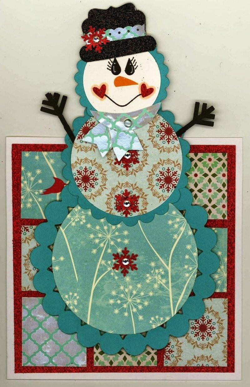 Открытка с объемным снеговиком внутри, открытки гостевые
