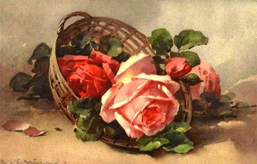 Старинные открытки натюрморт
