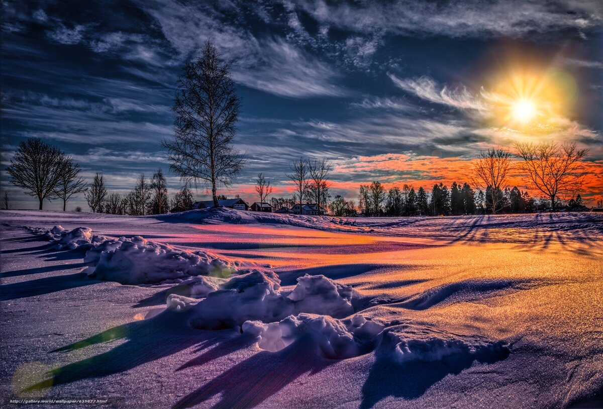 красивая картинка с закатом солнца зима