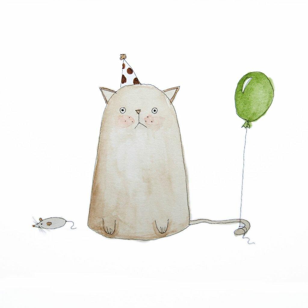 Коллеге, открытки с днем рождения акварелью смешные