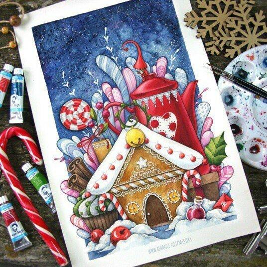 Рисуем открытки на новый год акварелью