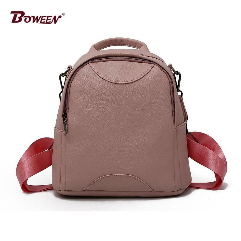 abbe89222d4a ... Женщины рюкзак кожаный из мягкой искусственной кожи однотонные черные  небольшой рюкзак женский простой Стиль Повседневное bagpack