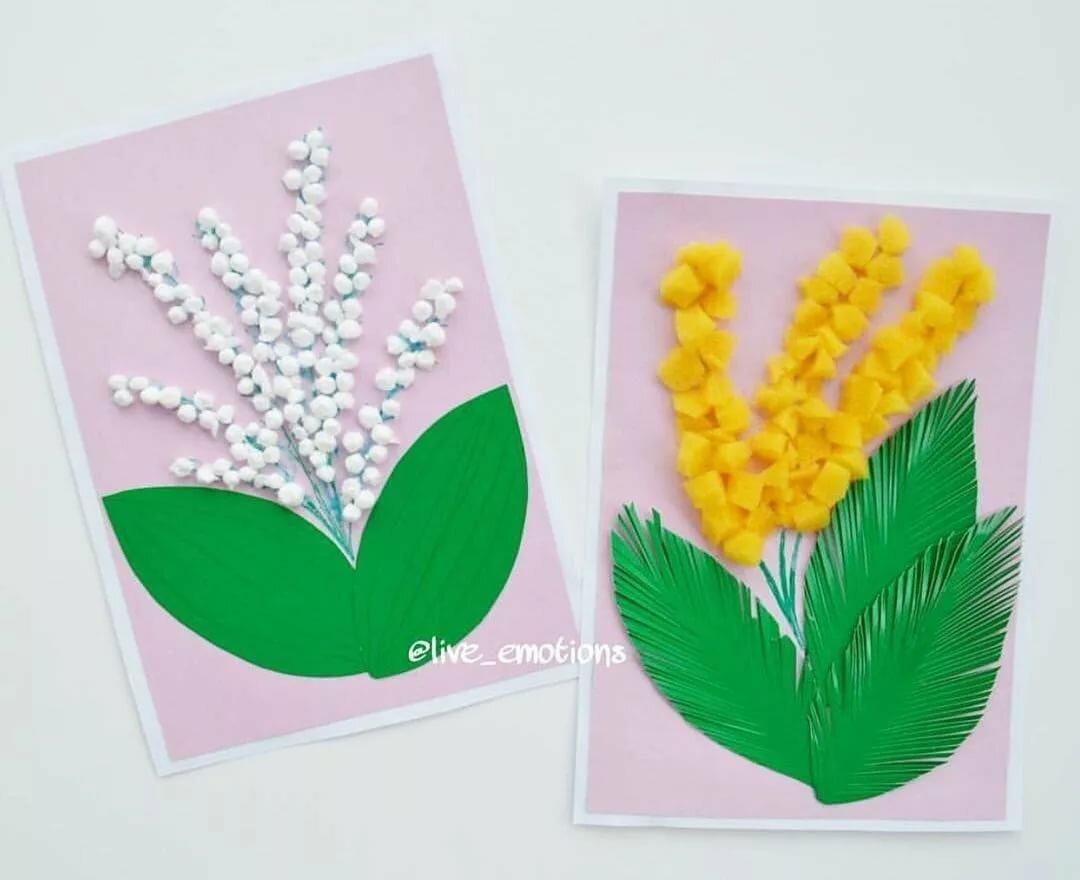 Мужчин, открытки к 8 марта своими руками в детском саду мимоза