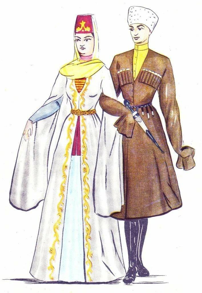 Народный костюм осетин картинки
