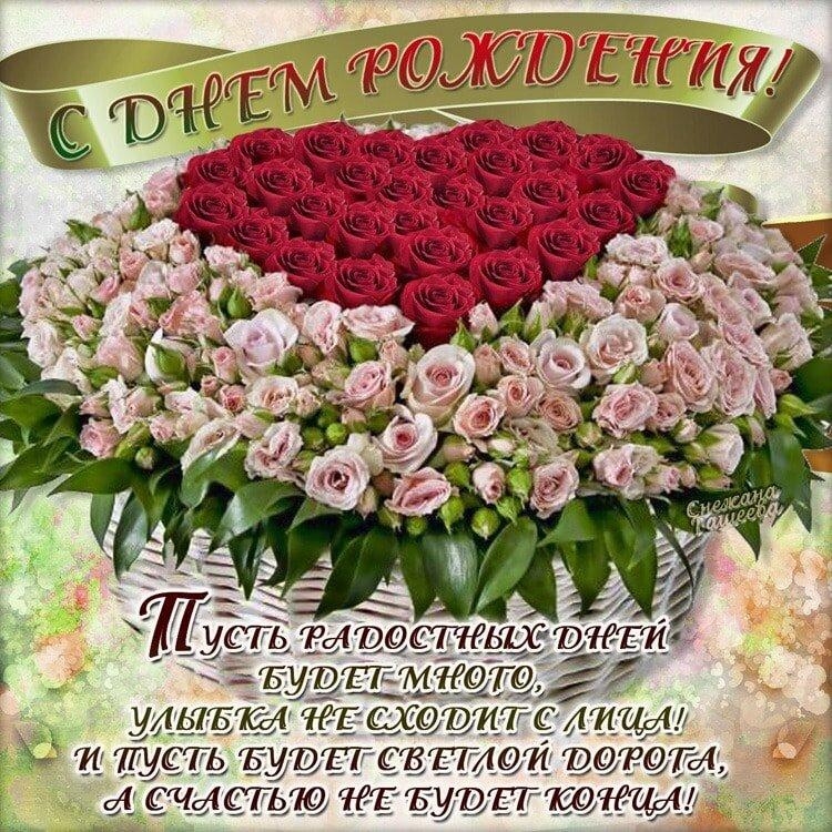 Поздравление с днем рождения с открыткой для женщины красивое, день